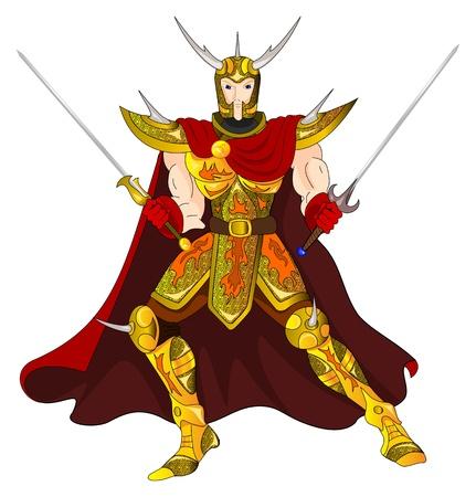 Złoty Wojownik z mieczem oburącz