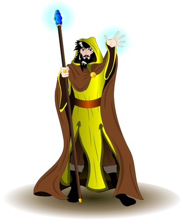 Wizard with staff Vector