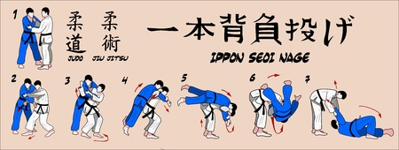 Judo projection over his shoulder with one hand Vector