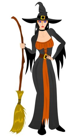 Witch with broom in Halloween