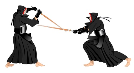 kendo: two kendo warriors fighting with traditional uniform