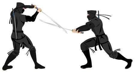 due ninja combattimento con katana Vettoriali