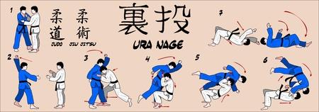 jujitsu:  Judo Rear throw  Illustration