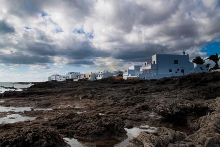 Coastal krajobraz z wyspy Lanzarote, Hiszpania Zdjęcie Seryjne