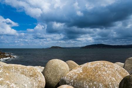 Krajobraz wybrzeża z wybrzeża Galicji, Hiszpania Zdjęcie Seryjne