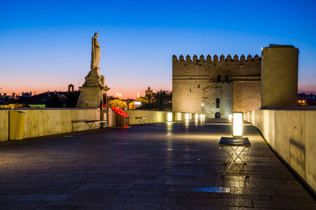 architectural heritage of the world: Night view of roman bridge from Cordoba