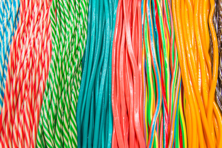 Licorices forming colorful patterns Stock Photo