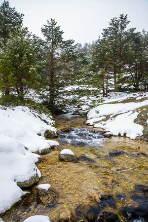 Snowy mountains with river in Madrid.