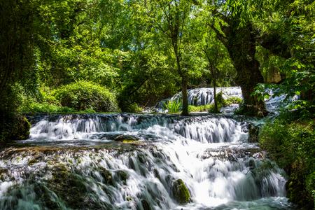 zaragoza: Waterfall from stone monastery Zaragoza Spain.