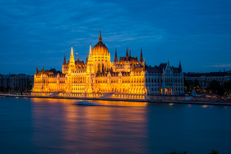 Budapest Parliament night view.