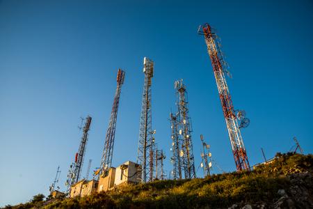 antennas: Communication antennas. Stock Photo