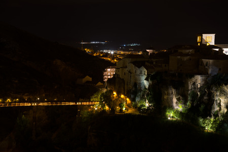 cuenca: Hanging houses of Cuenca at night. Spain. Stock Photo