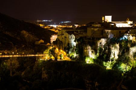 Hanging houses of Cuenca at night. Spain. Zdjęcie Seryjne