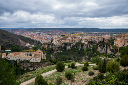 cuenca: Hanging houses of Cuenca. Spain. Stock Photo