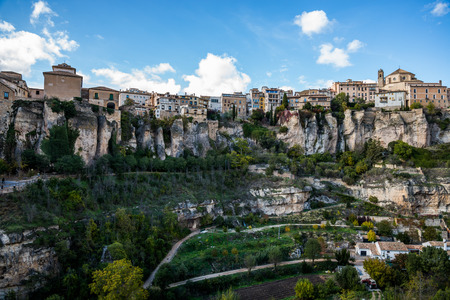 spain: Hanging houses of Cuenca. Spain. Stock Photo
