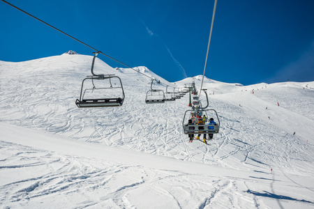 Chairlift in winter resort from Formigal.