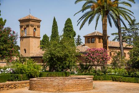 Alhambra de Granada, setting, Granada City, Andalusia, Spain. Stock Photo