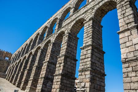 antique roman aqueduct in Segovia, Castilla y Leon, Spain