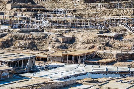 Salt valley of Anana, A�ana, old salt mine from Alava, Basque Country, Spain Stock Photo - 78975364