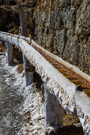 Salt valley of Anana, Añana, old salt mine from Alava, Basque Country, Spain Standard-Bild