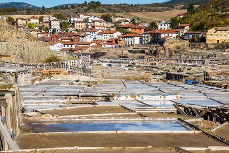 Salt valley of Anana, A�ana, old salt mine from Alava, Basque Country, Spain Stock Photo - 79152993