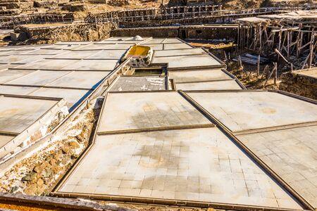Salt valley of Anana, A�ana, old salt mine from Alava, Basque Country, Spain Stock Photo - 79374528