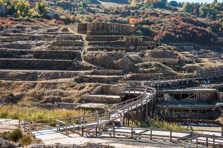 Salt valley of Anana, A�ana, old salt mine from Alava, Basque Country, Spain Stock Photo