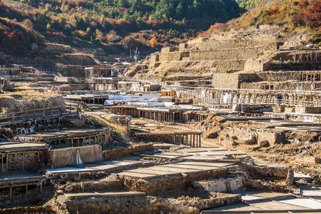Salt valley of Anana, A�ana, old salt mine from Alava, Basque Country, Spain Stock Photo - 79153003