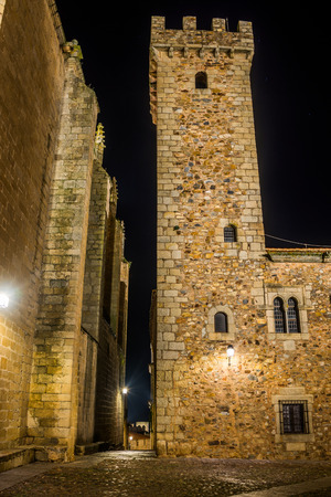 inside caceres city by night, Extremadura, Spain.