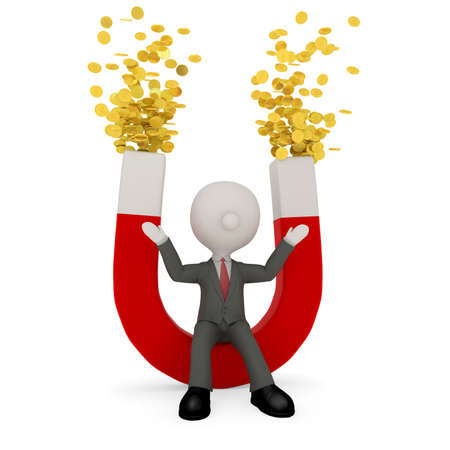 mucho dinero: Hombre de negocios y el imán poderoso que atrae a una gran cantidad de dinero