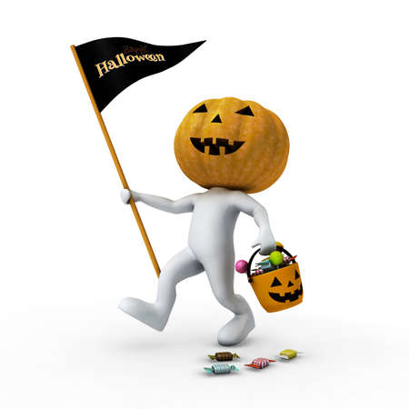 Happy white man who wearing  pumpkin head and hold candy bucket after trick or treat  photo