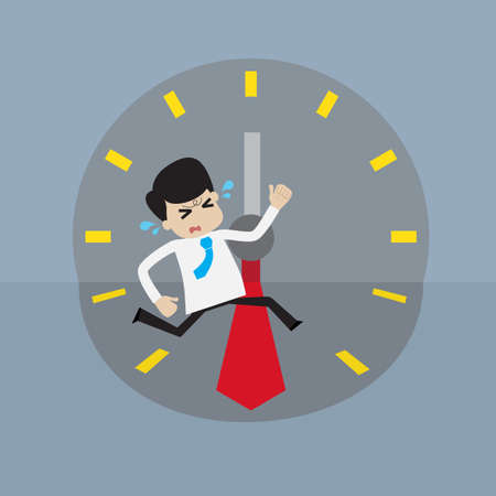 run out: Young businessman rush run to place  within deadline time. concept for hurry up or out of time.