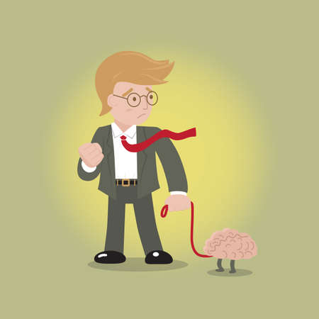 unyielding: Brain is pet, Businessman always have good idea from good brain concept