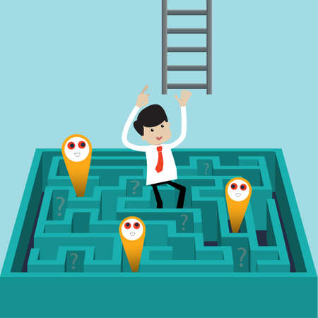 wayout: Businessman success to finds another way to exit over labyrinth.   Flat style vector for success, challenge, exit or escape from problems  Illustration