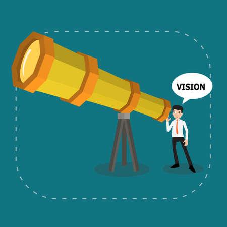 El hombre de negocios en busca de visión inteligente para el bien futuro telescopio increíble, vector de negocios para mirar el futuro o el buen concepto de la visión.