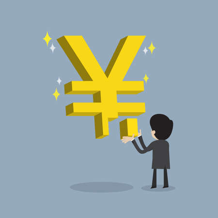 yen sign: businessman make strong business by  fulfill  Japan yen sign as stable about his money , cartoon vector for success and  stable growht of economic or get return on investment