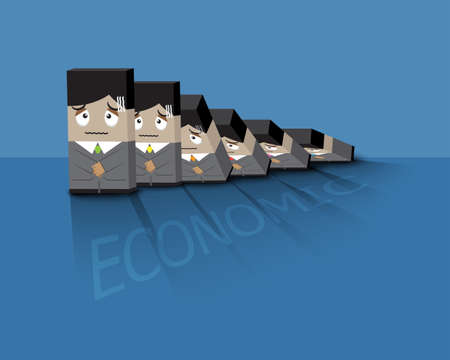 domino effect: Businessman  afraid to face bad economic or domino effect Illustration