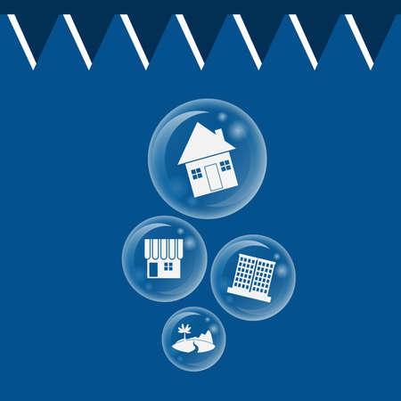 real estate bubble burst for Economic Bubble concept Vector