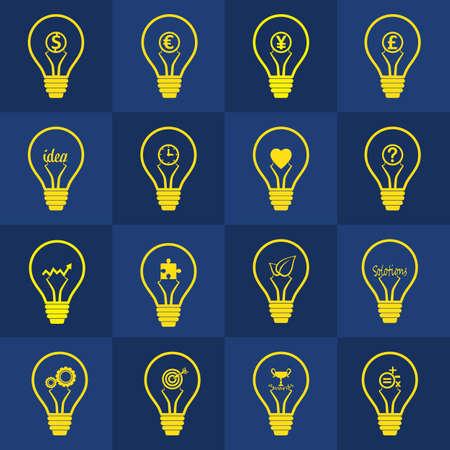 pensamiento creativo: Conjunto de vectores bombilla contiene diferente idea, Designt para el pensamiento creativo, la inspiración, la mente inventiva, la resolución de problemas y el éxito en el concepto de negocio Vectores