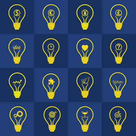 Set of light bulb vectors  contain different idea , Designt for creative thinking, inspiration,  inventive mind, problem solving and sucess in business concept Vector
