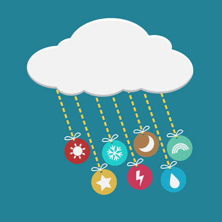 colorful weather icon hanging from cloud Vector
