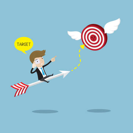Businessman rides on arrow with scanner eyeglass  searching  target. Vector  illustration for success concept. Illustration