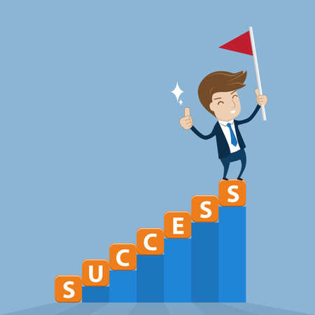 thriving: Businessman standing on top of cube lettering success stairway with  flag of victory. Vector illustration for success concept