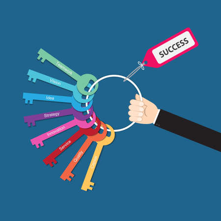 leadership key: Hand holding bunch of keys for success, vector for  success in business concept, key to success,  key success factors,