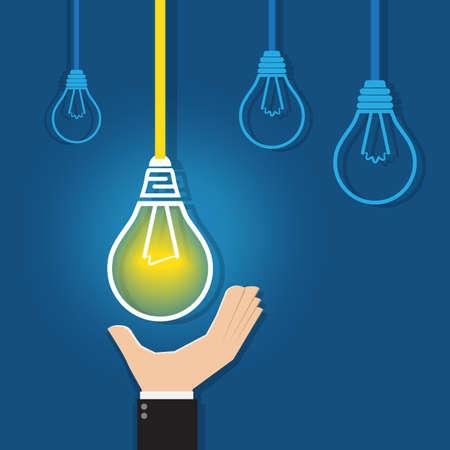 unique concept: Hand reaching for a  glowing unique light bulb, vector for business concept like leadership, best idea, inspiration, creative etc.