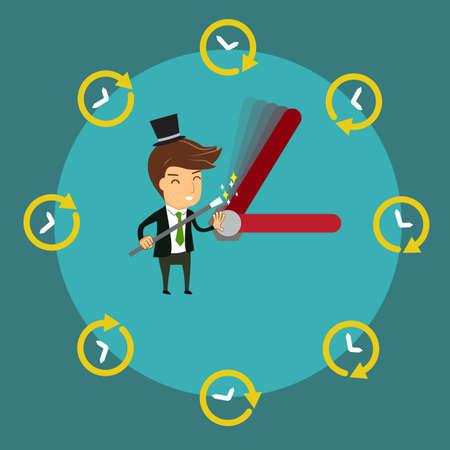Smiling Businessman using magic wand to control  clock