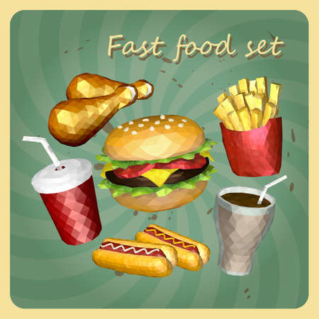 grill meat: Polygon Retro style fast foods set, consist of  hamburger, fried chicken, hot dog, french fries and soft drink Illustration