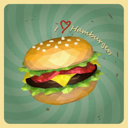 Retro polygon style hamburgers