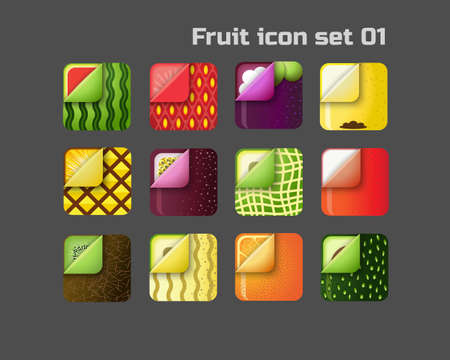 square colorful fruit icon set for web and mobile 01 向量圖像