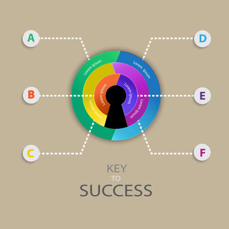 key to success: Business infographic for Key to Success  concept. Vector  illustration for web design, mobile, layout, diagram, artwork.